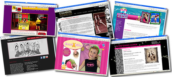 A sampling of our dance website designs