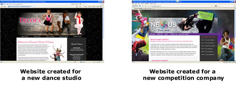 Websites created for a new dance studio and competition company