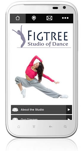 Mobile website design for dance studios