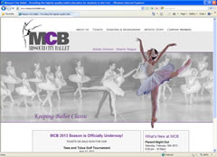 Web design for dance studios - Missouri City Ballet