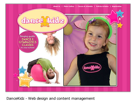 Dance Kidz - Website design and content management