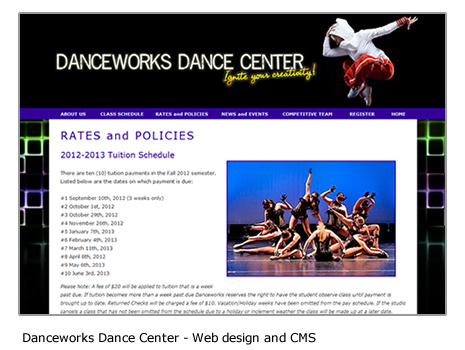 Danceworks Dance Center - Website and CMS