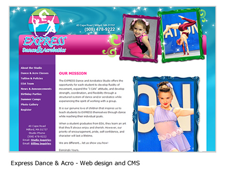 Express Dance and Acrobatics - Gymnastics web design