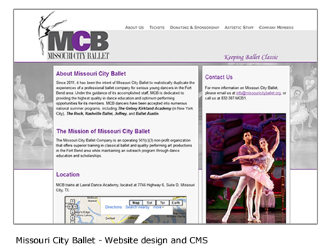 Missouri City Ballet - Dance website and CMS