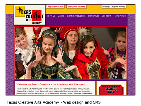 Texas Creative Arts Academy - Performing arts website design and CMS